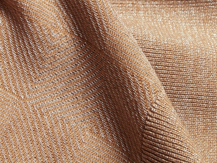 Camel Check Merino Wool and Metallic Sweater - cell image 1