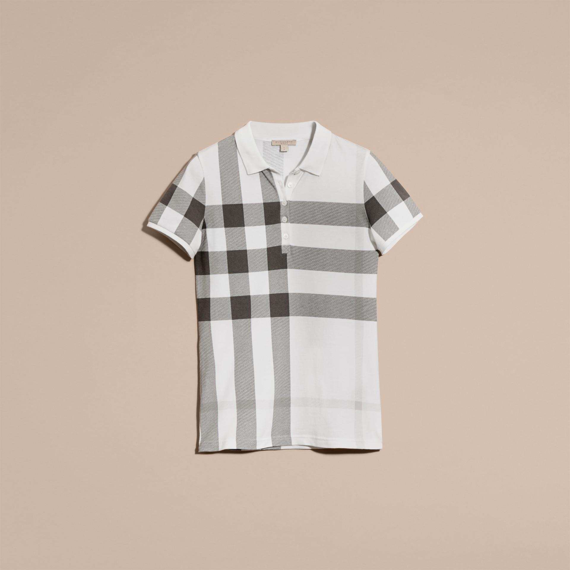 Blanc Polo en piqué de coton extensible à motif check Blanc - photo de la galerie 4