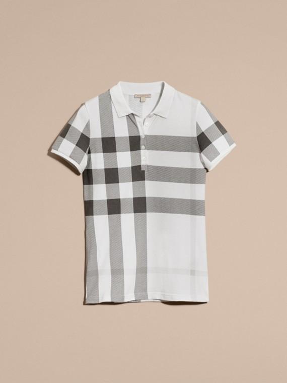 Blanc Polo en piqué de coton extensible à motif check Blanc - cell image 3