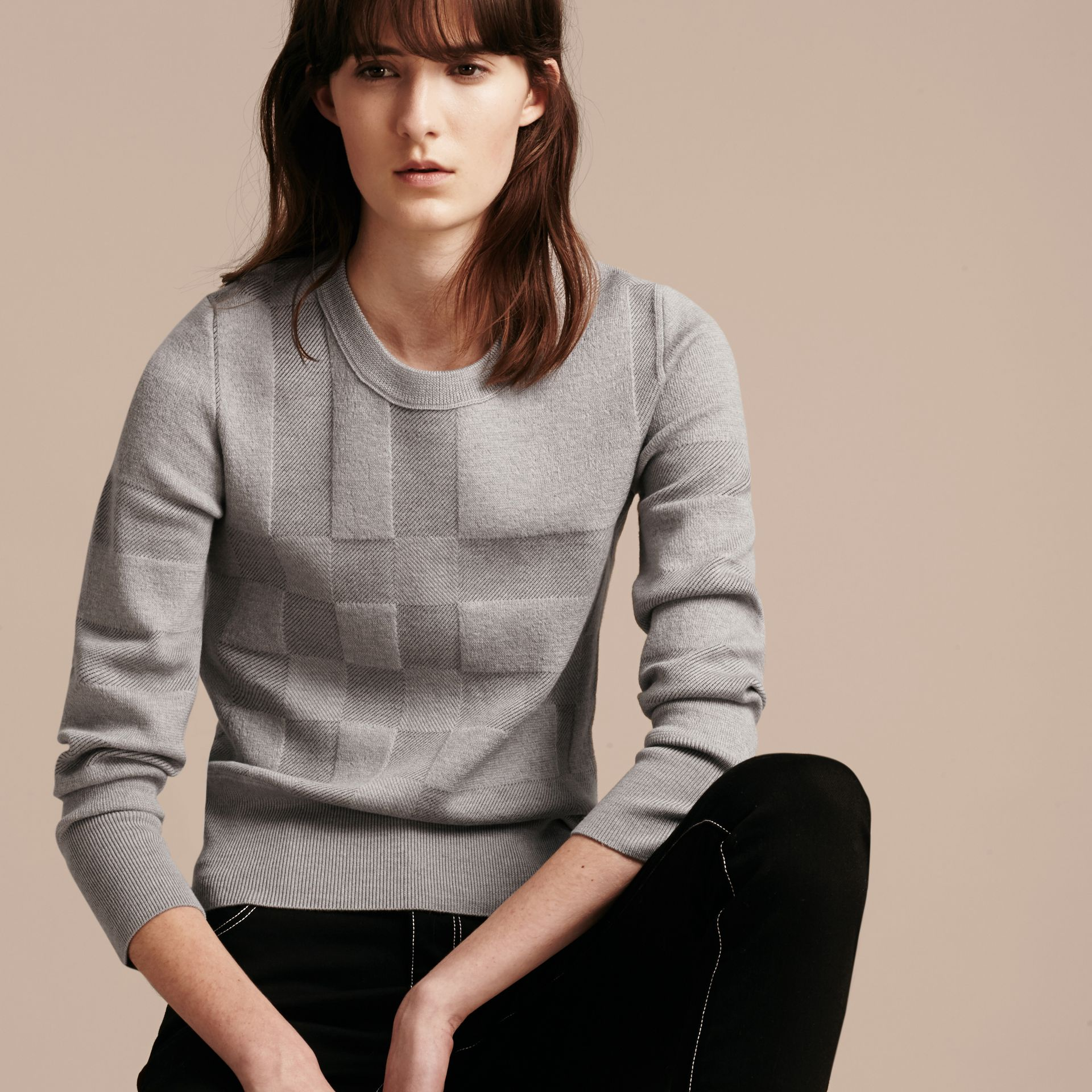 Check Knit Wool Blend Sweater in Mid Grey Melange - Women | Burberry United Kingdom - gallery image 6