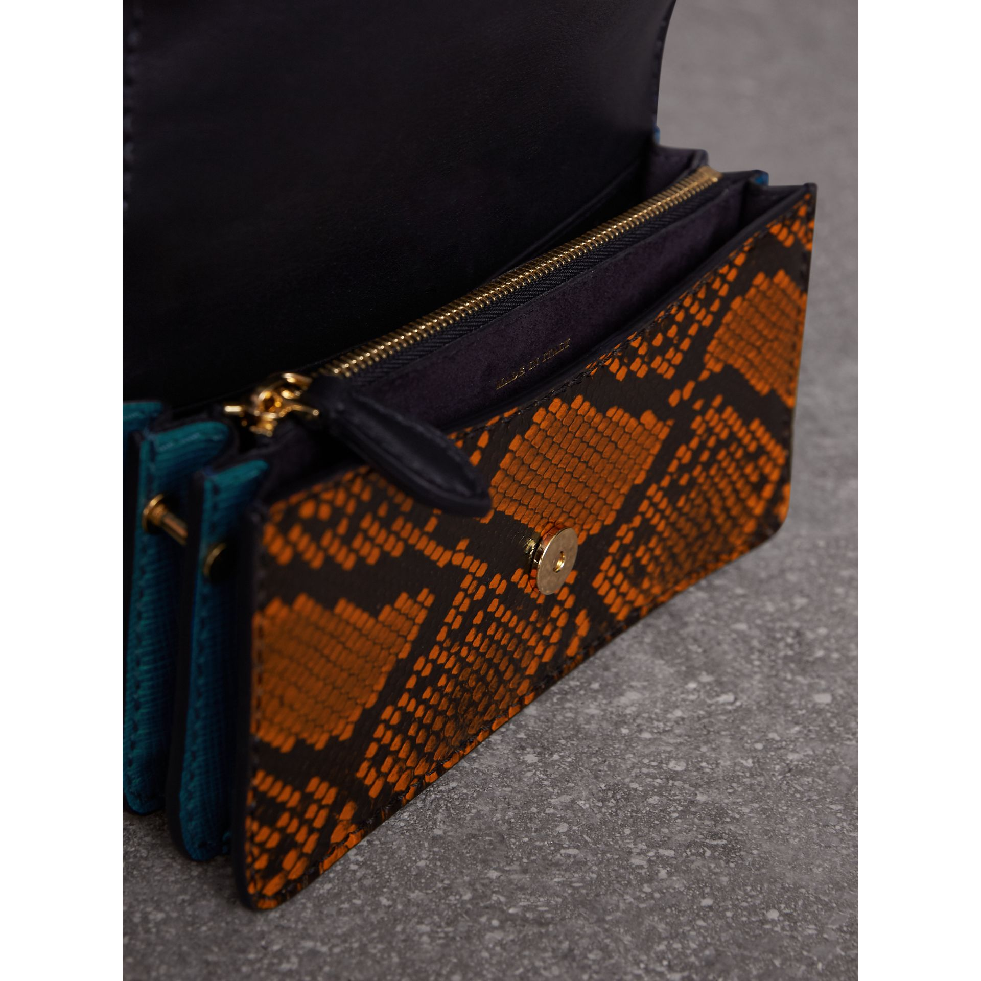 The Small Buckle Bag in Riveted Snakeskin and Floral Print in Turquoise - Women | Burberry - gallery image 5