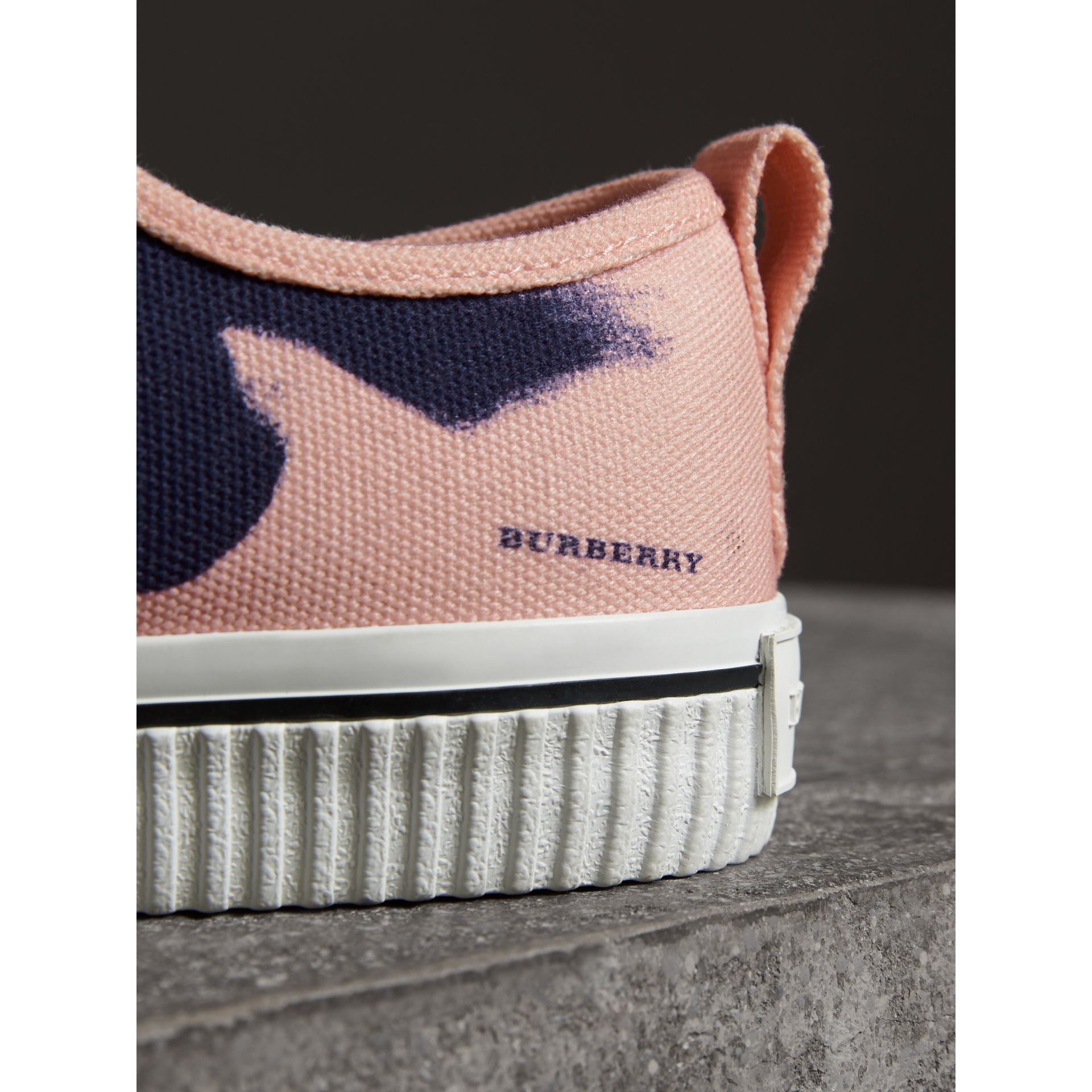 Bird Print Canvas Sneakers in Apricot Pink - Men | Burberry Hong Kong - gallery image 1