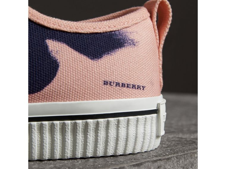 Bird Print Canvas Sneakers in Apricot Pink - Men | Burberry Hong Kong - cell image 1