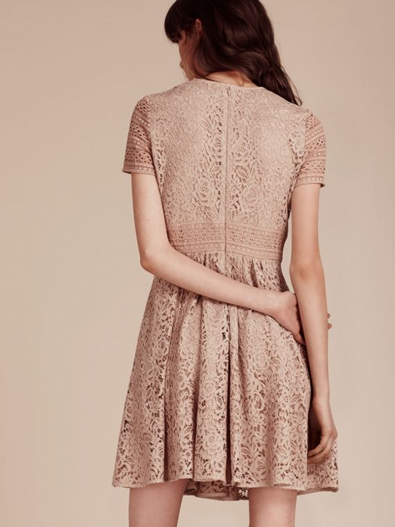 Antique taupe pink Floral and Mesh Lace Dress - cell image 3