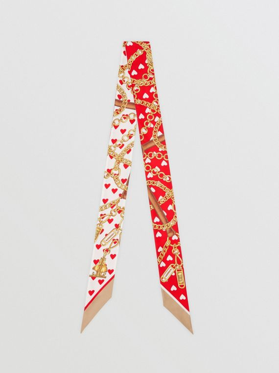 Foulard ultrafin en soie à imprimé écharpes d'archive (Rouge Vif)