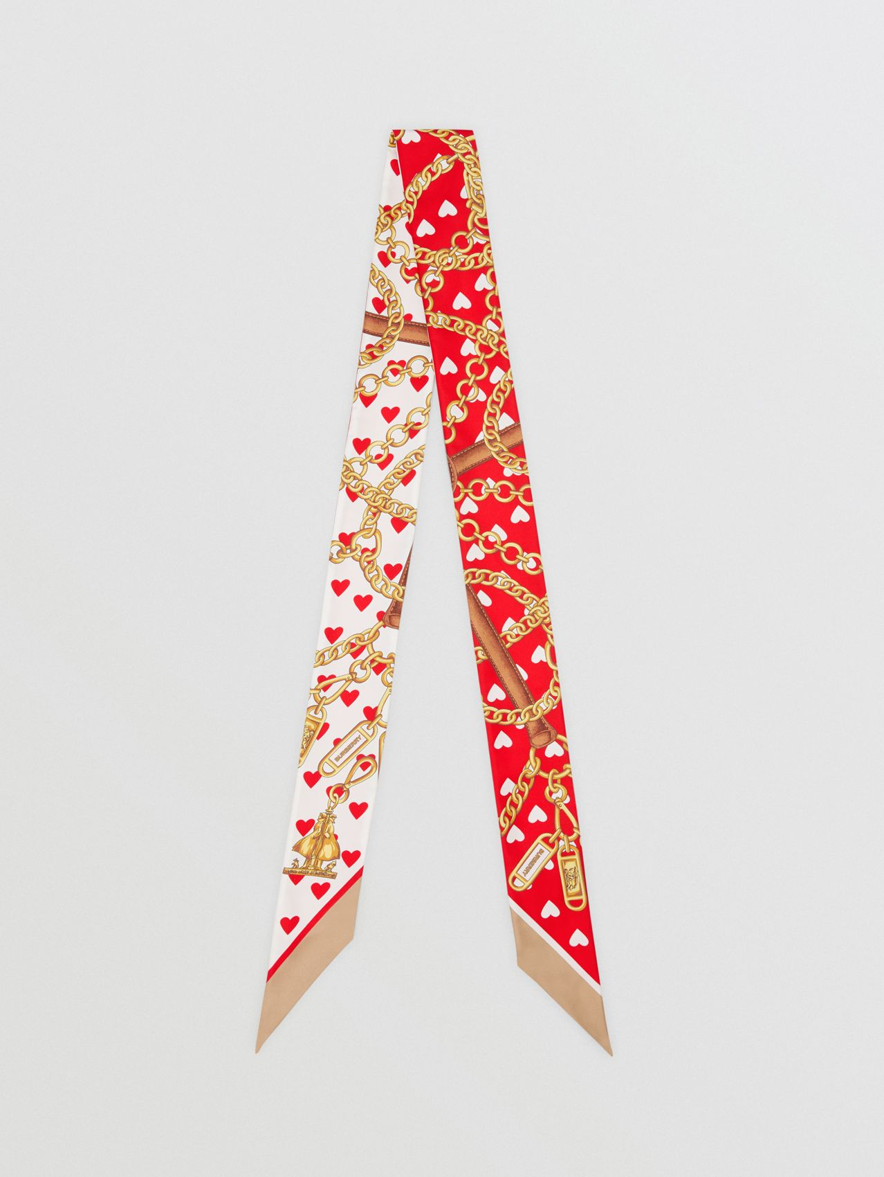 Archive Scarf Print Silk Skinny Scarf in Bright Red