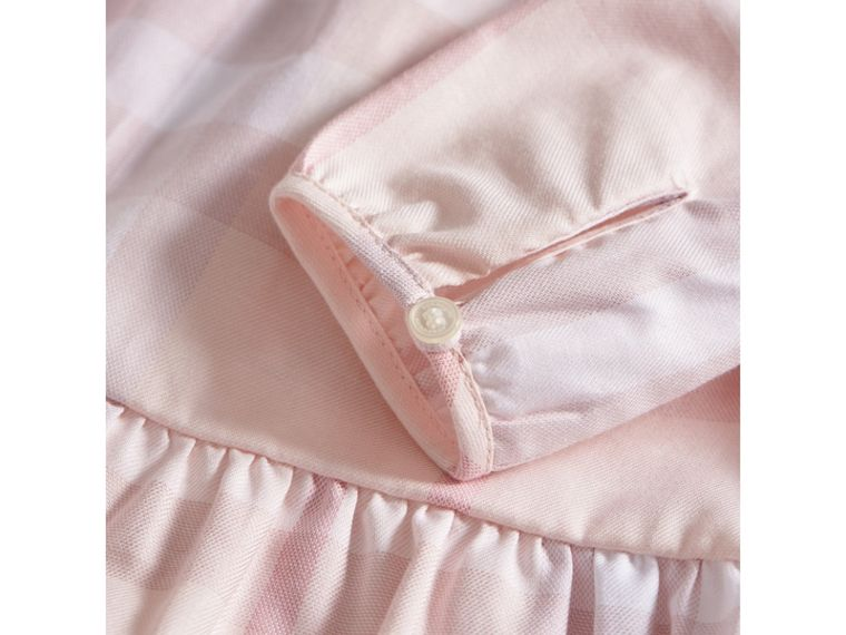 Check Cotton Tiered Dress with Bloomers in Ice Pink | Burberry - cell image 1