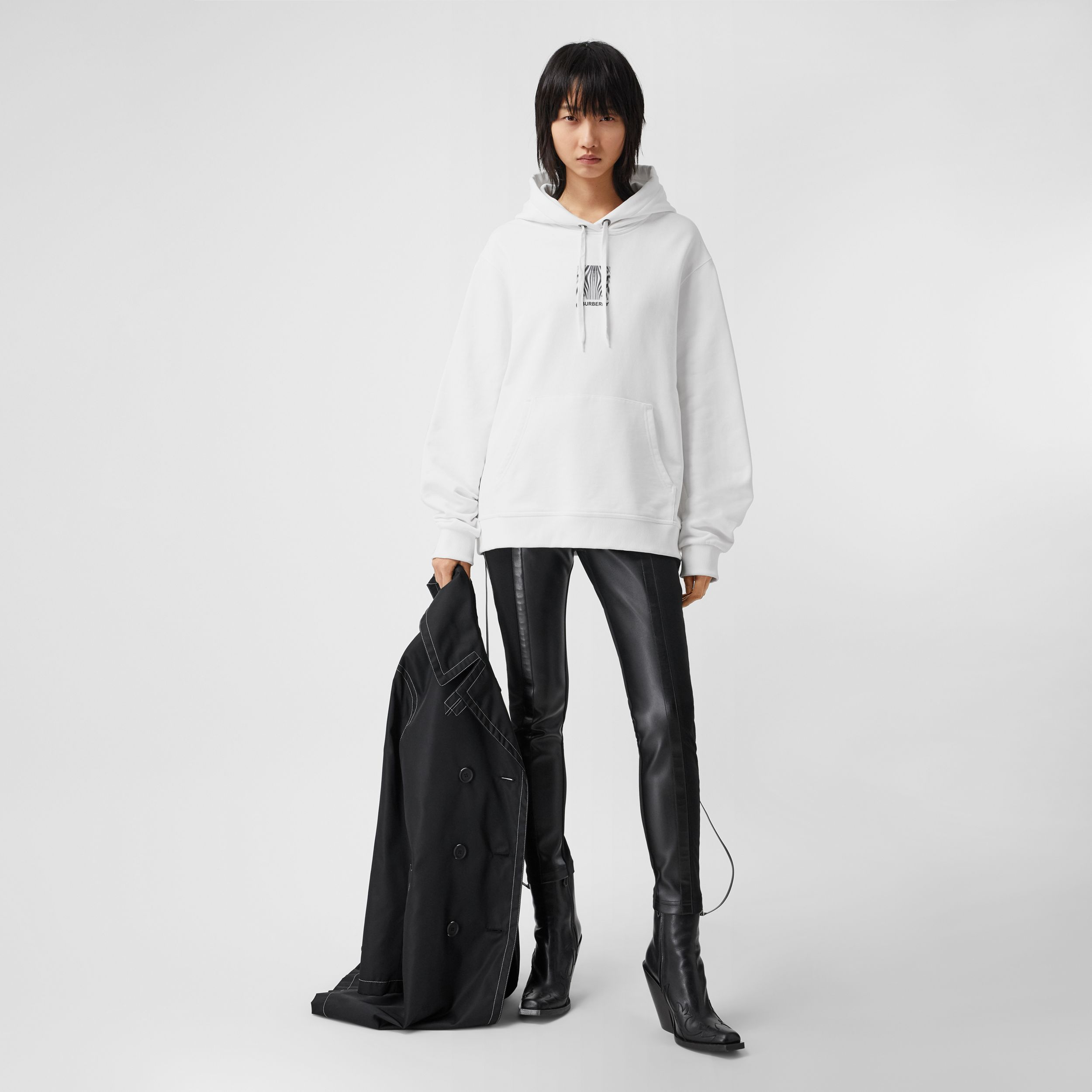 Montage Print Cotton Oversized Hoodie in White - Women | Burberry - 1