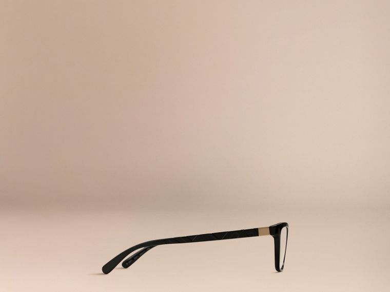 Black Check Detail Cat-eye Optical Frames Black - cell image 4