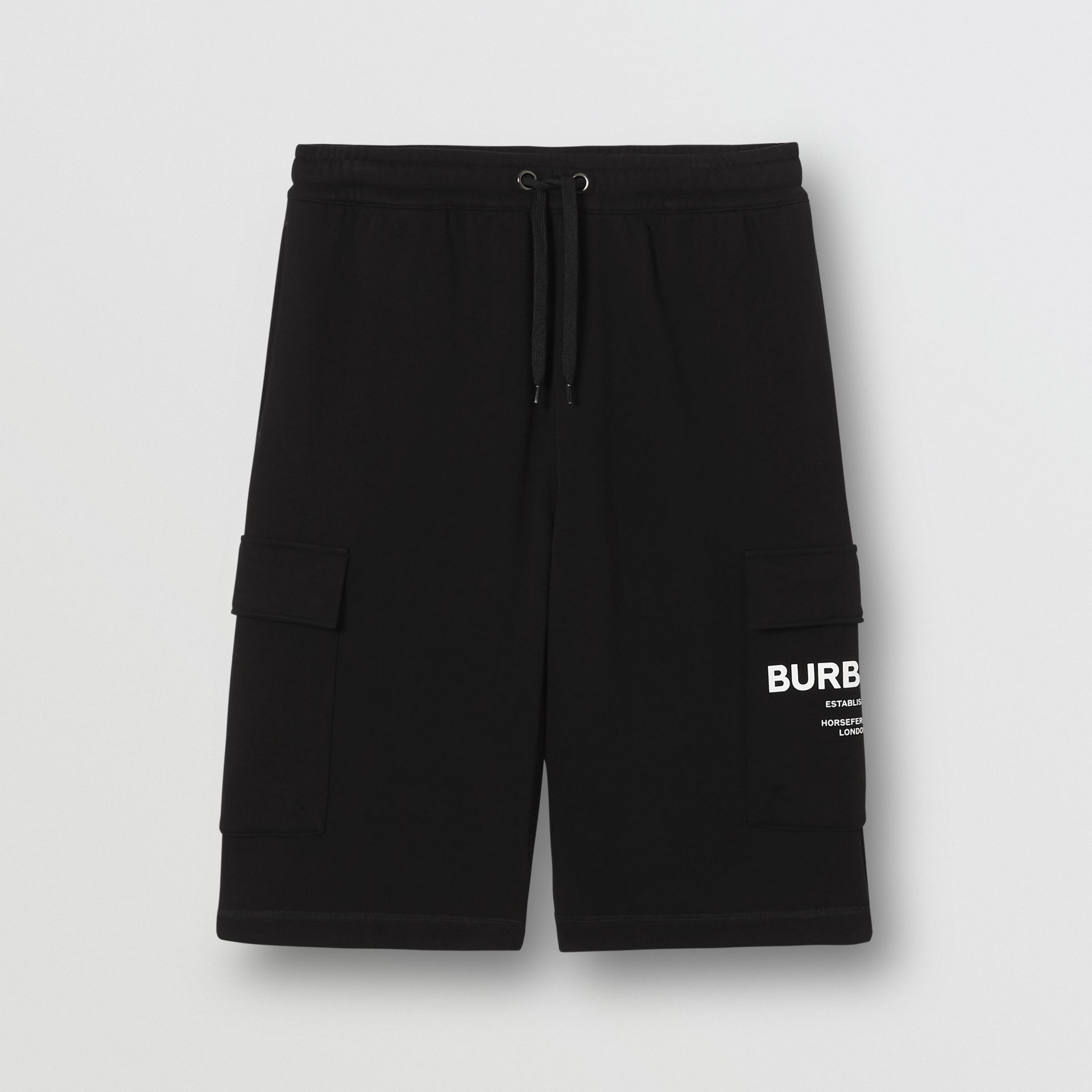 Horseferry Print Cotton Drawcord Shorts in Black - Men | Burberry - gallery image 3