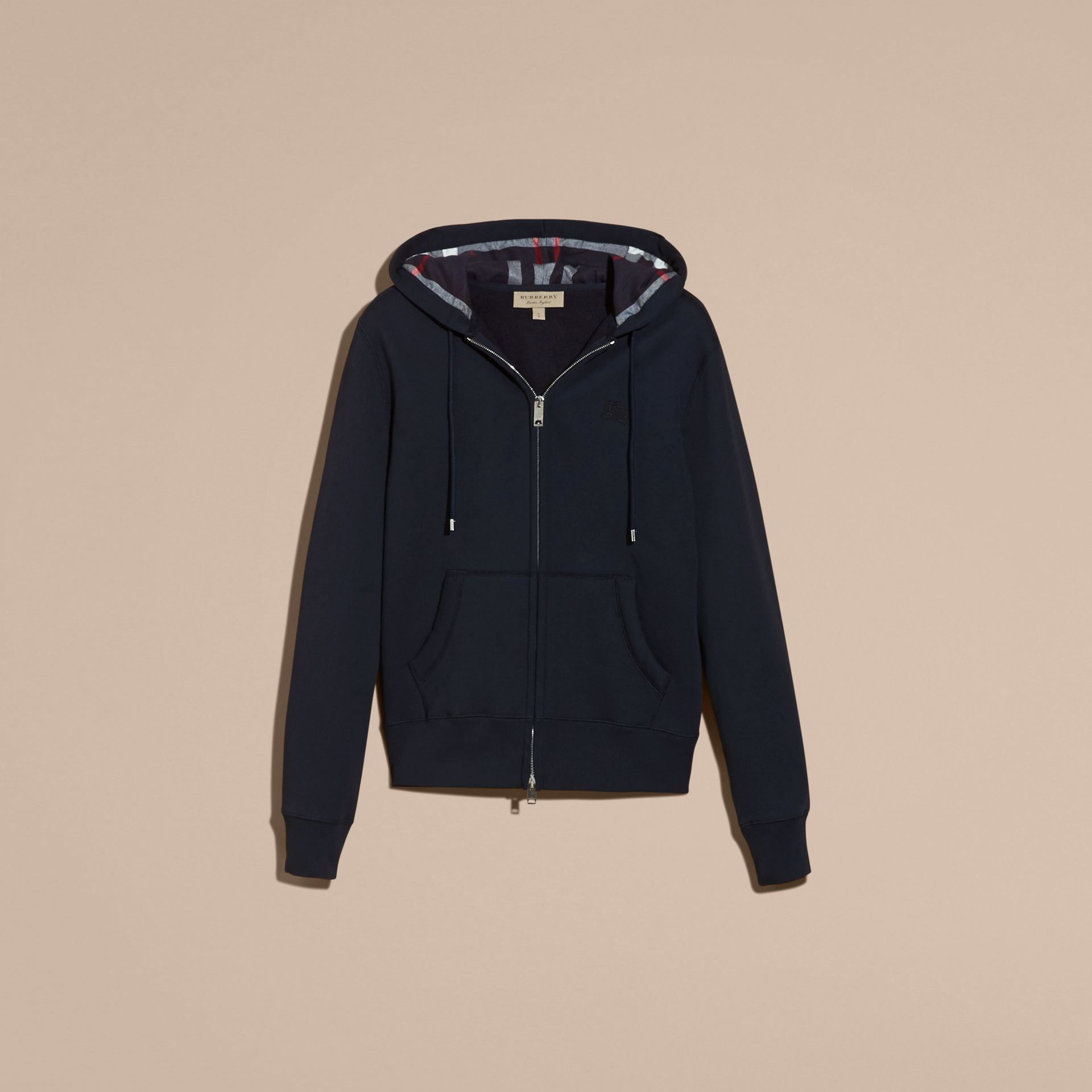Hooded Cotton Jersey Top Navy - gallery image 4