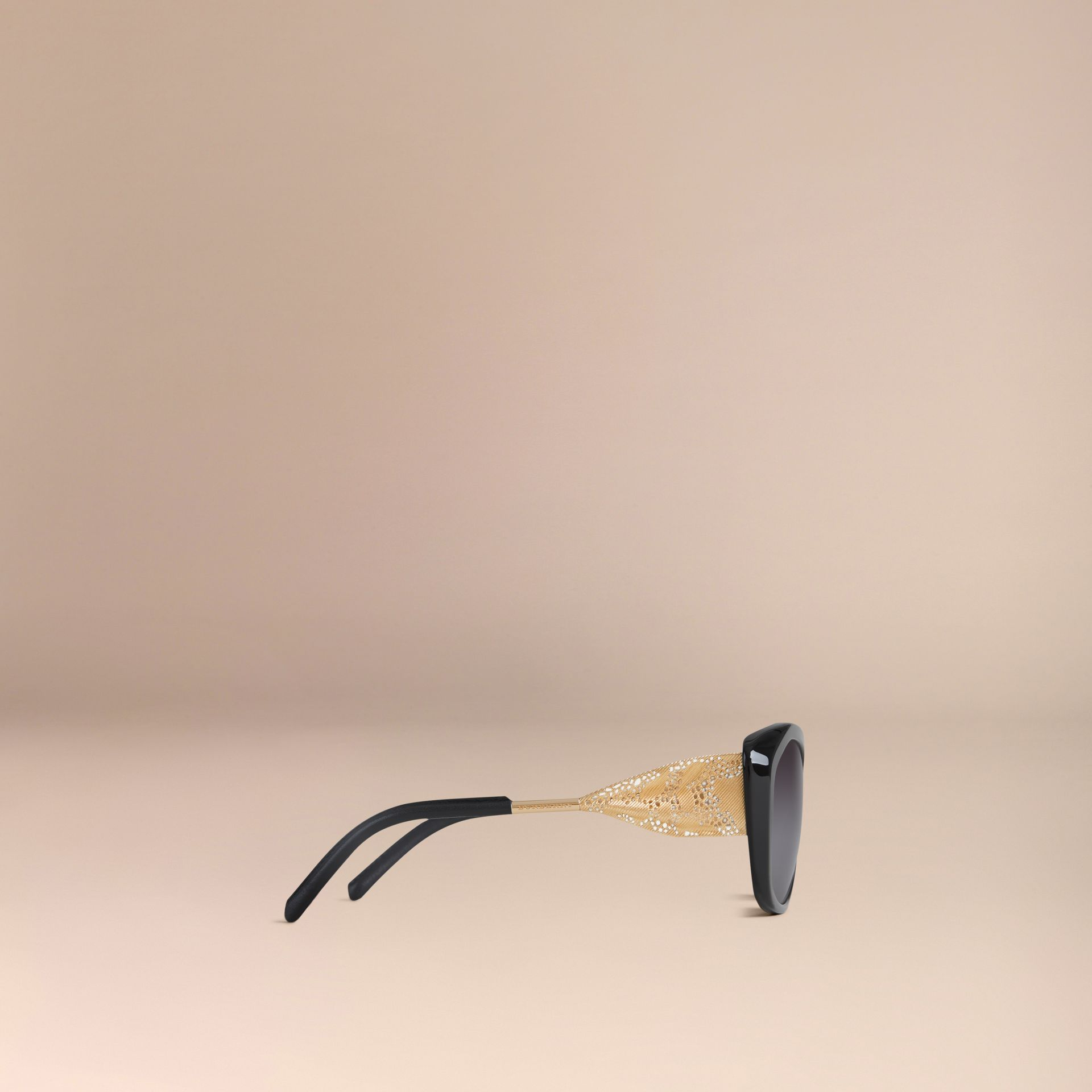 Black Gabardine Collection Square Frame Sunglasses Black - gallery image 4
