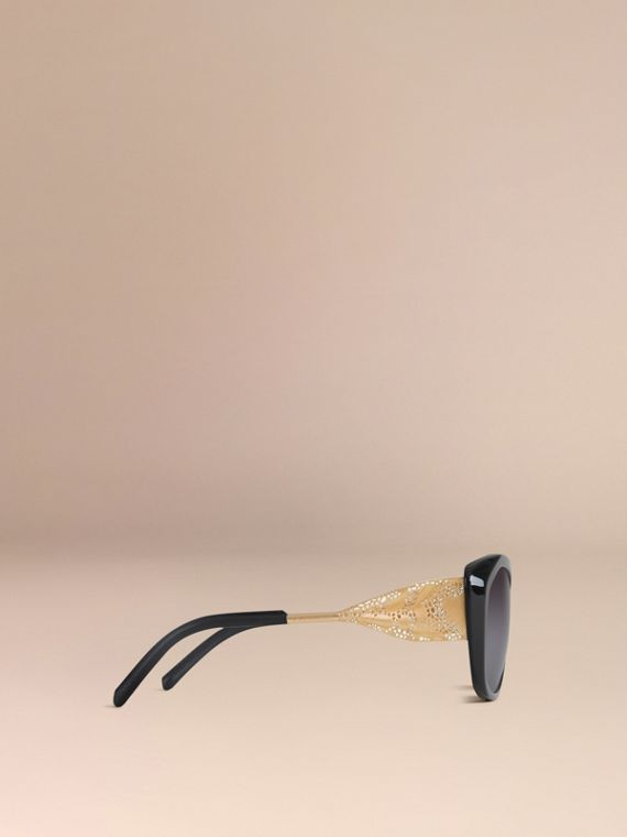 Black Gabardine Collection Square Frame Sunglasses Black - cell image 3