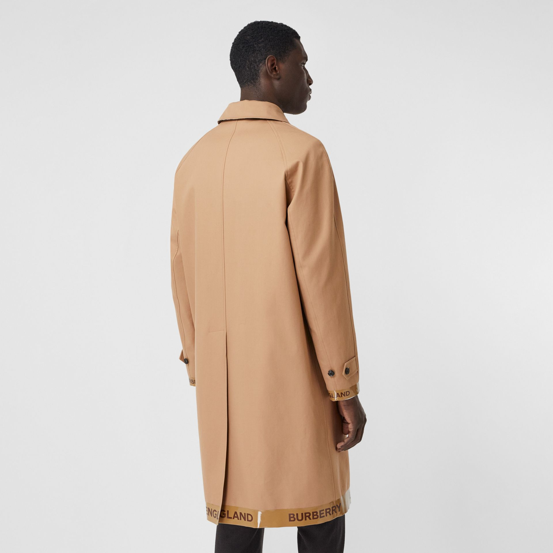 Logo Tape Cotton Car Coat in Warm Walnut - Men | Burberry - gallery image 2
