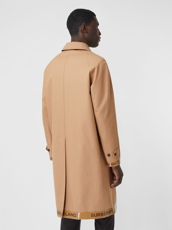 Logo Tape Cotton Car Coat in Warm Walnut - Men | Burberry - cell image 2