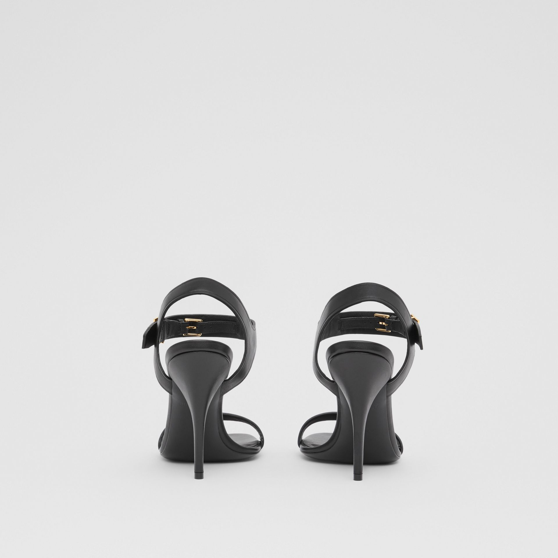 Monogram Motif Leather Sandals in Black - Women | Burberry United Kingdom - gallery image 4