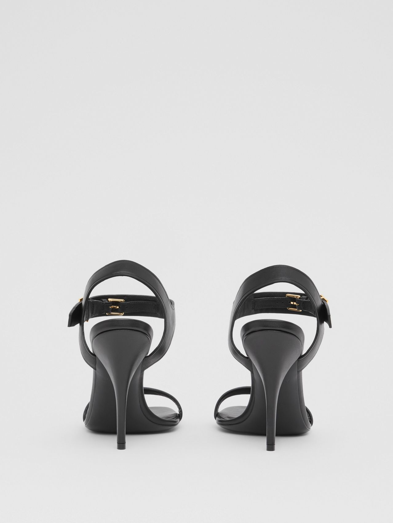 Monogram Motif Leather Sandals in Black