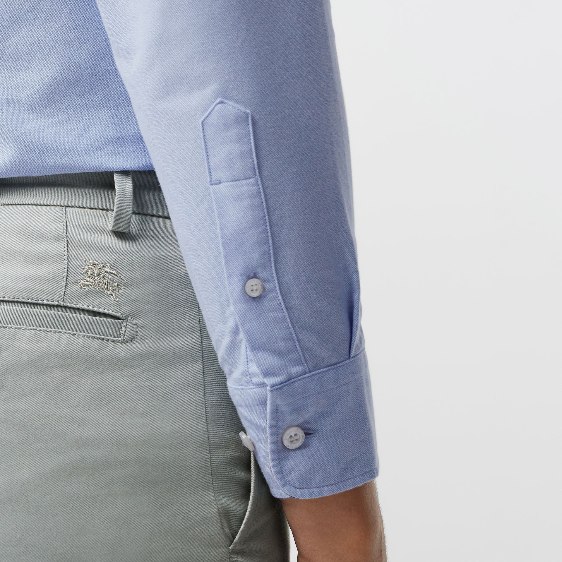 Slim Fit Cotton Chinos in Blue Grey - Men | Burberry - gallery image 1