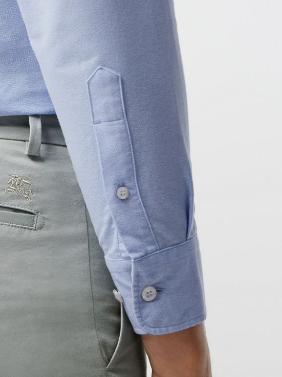 Slim Fit Cotton Chinos in Blue Grey - Men | Burberry - cell image 1