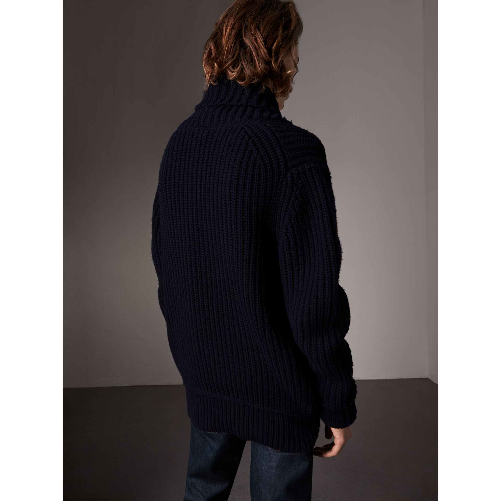 Shawl Collar Wool Cashmere Sweater in Navy - Men | Burberry Singapore - gallery image 3