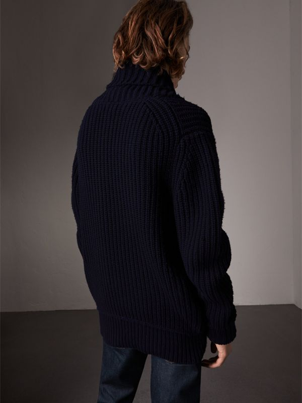 Shawl Collar Wool Cashmere Sweater in Navy - Men | Burberry - cell image 2