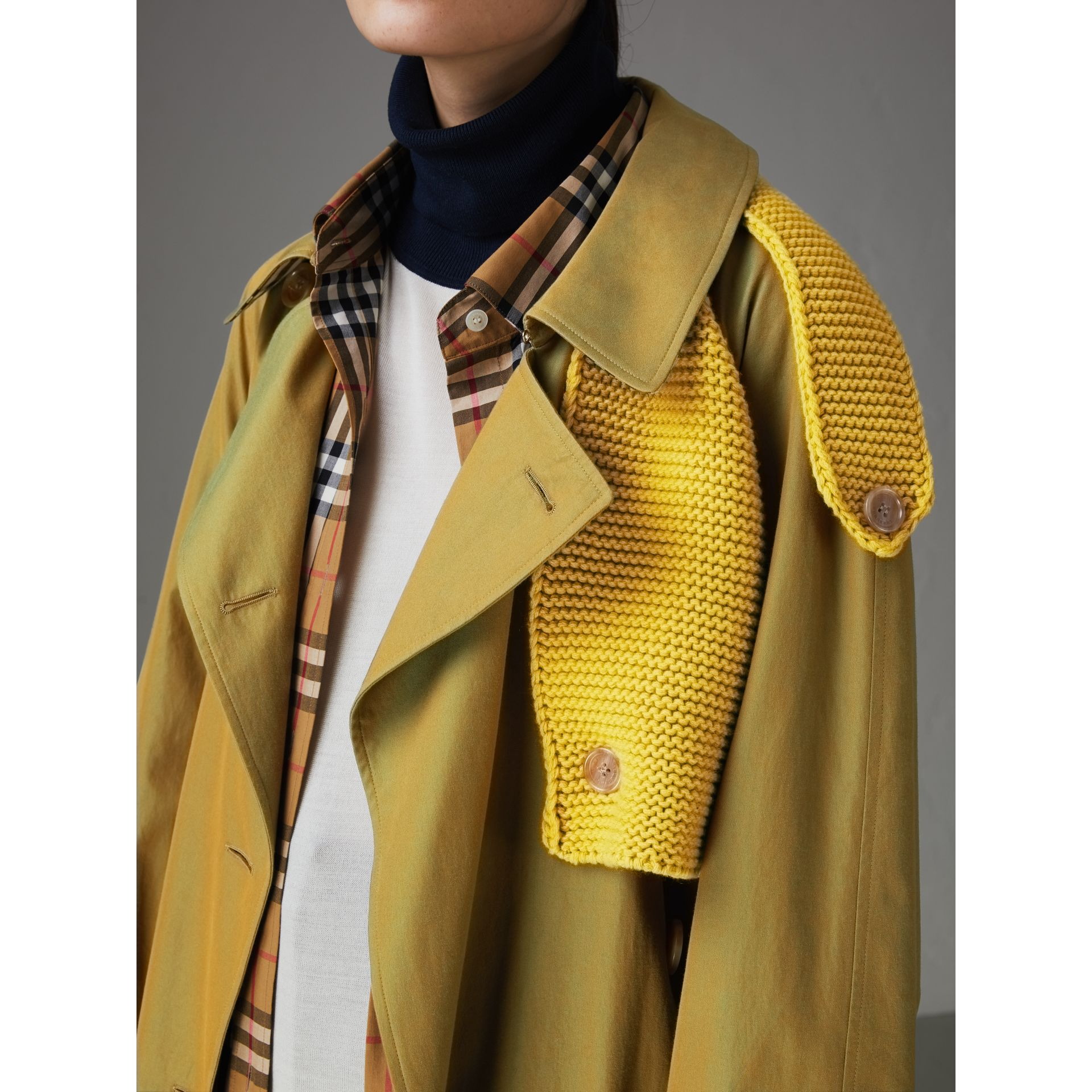 Knit-detail Tropical Gabardine Trench Coat in Green Ochre - Women | Burberry Canada - gallery image 1