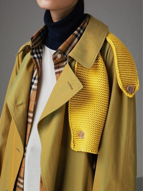 Knit-detail Tropical Gabardine Trench Coat in Green Ochre - Women | Burberry Canada - cell image 1