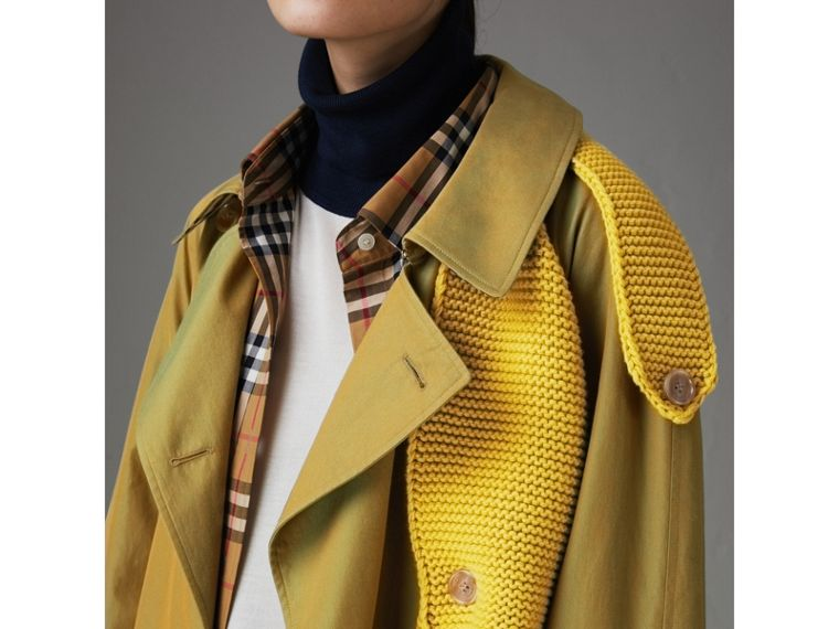 Knit-detail Tropical Gabardine Trench Coat in Green Ochre - Women | Burberry - cell image 1