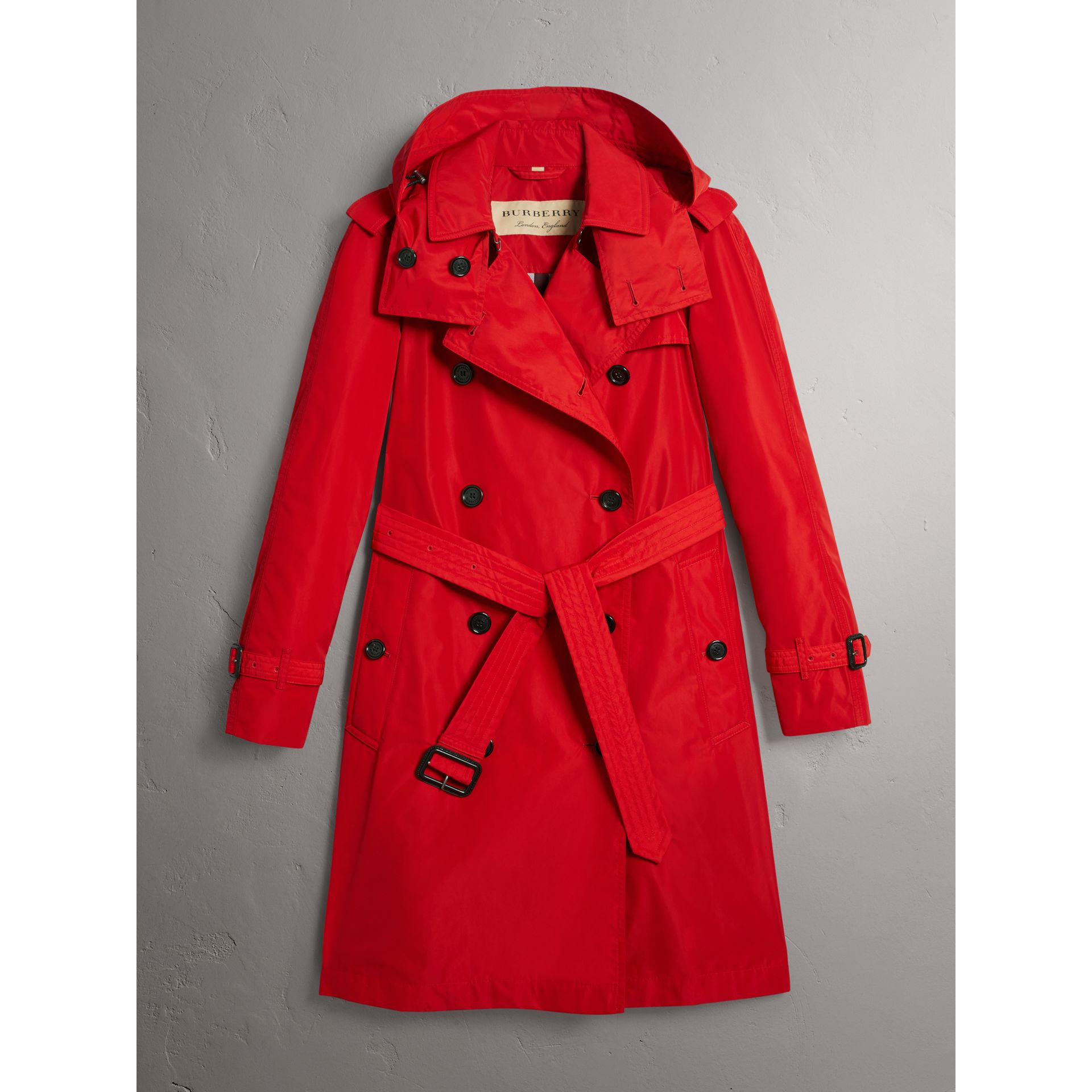 Detachable Hood Taffeta Trench Coat in Military Red - Women | Burberry - gallery image 3