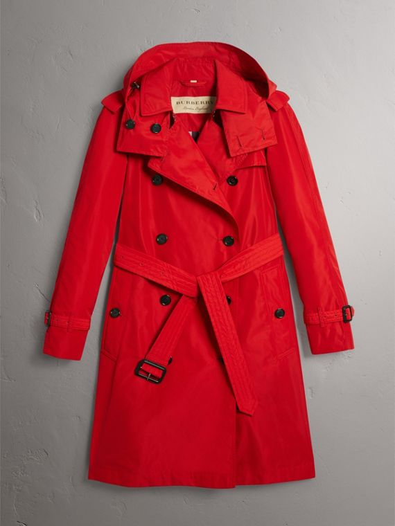 Detachable Hood Taffeta Trench Coat in Military Red - Women | Burberry - cell image 3