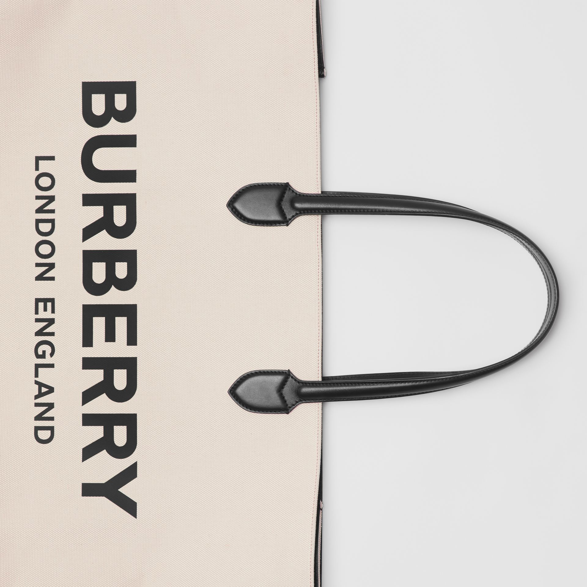 Logo Detail Cotton Blend Tote in Natural | Burberry - gallery image 1