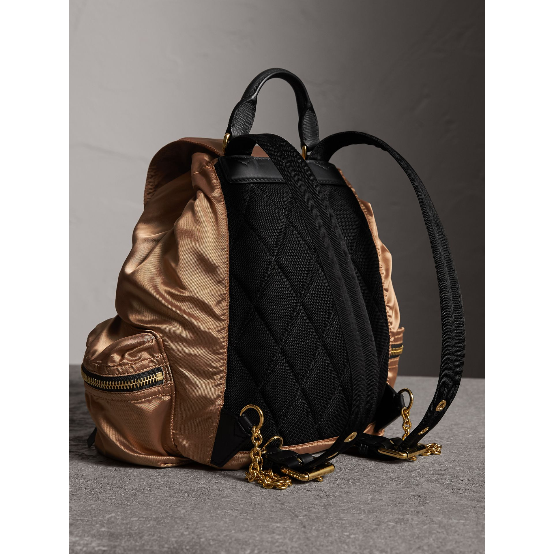 The Medium Rucksack in Two-tone Nylon and Leather in Gold/black - Women | Burberry Singapore - gallery image 3