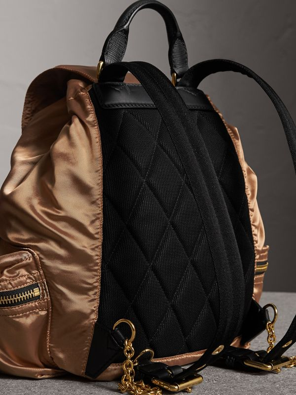 The Medium Rucksack in Two-tone Nylon and Leather in Gold/black - Women | Burberry - cell image 3