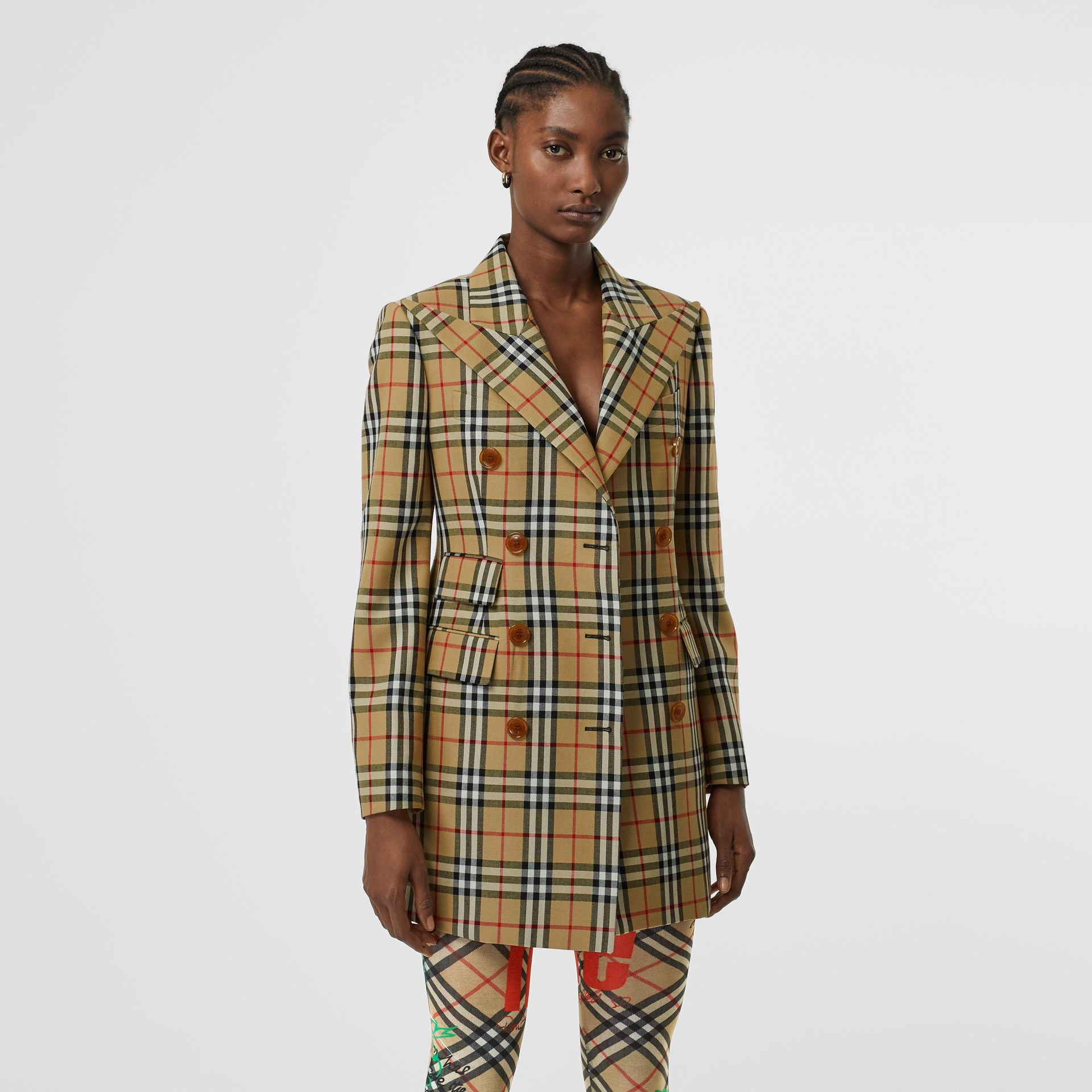 Vintage Check Wool Double-breasted Jacket in Antique Yellow - Women | Burberry - gallery image 5