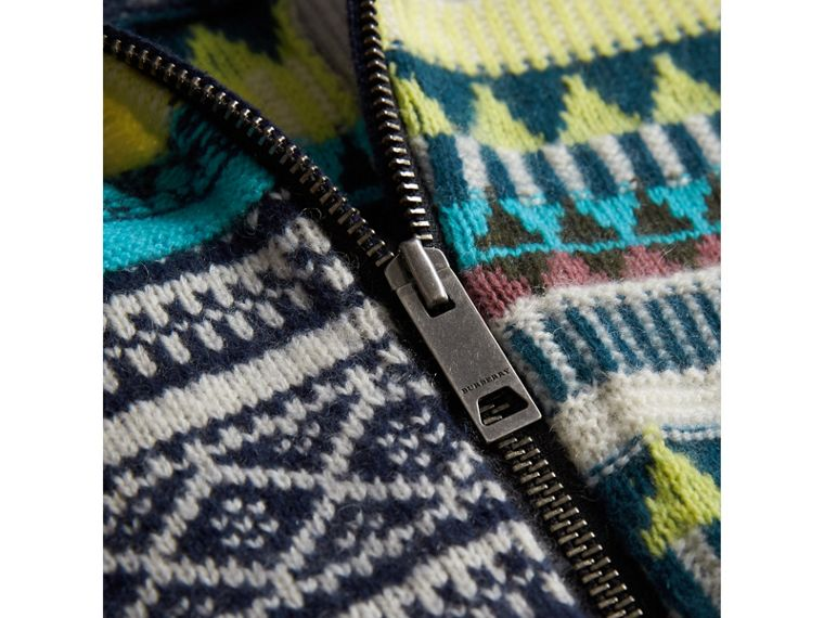 Fair Isle Wool Cashmere Patchwork Bomber Jacket in Navy | Burberry United Kingdom - cell image 1