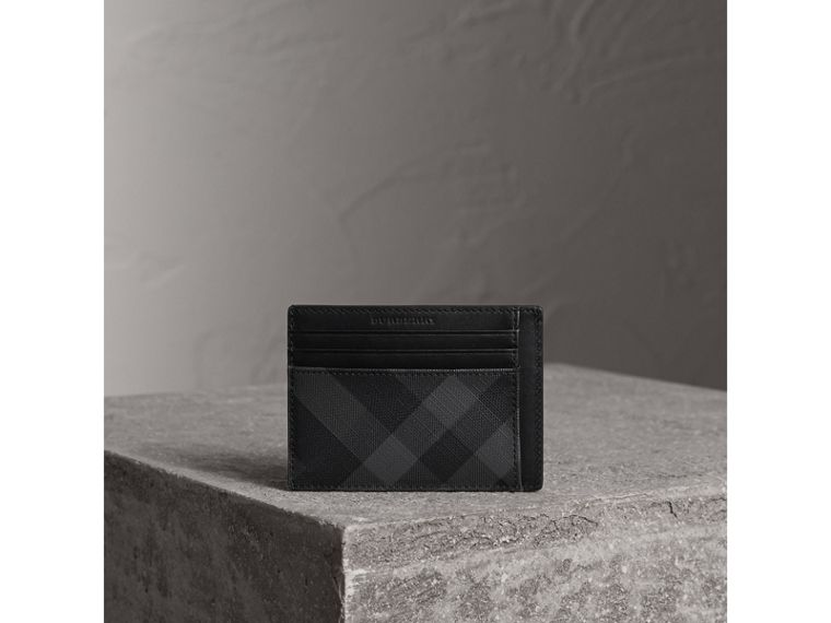 London Check Card Case in Charcoal/black - Men | Burberry - cell image 4