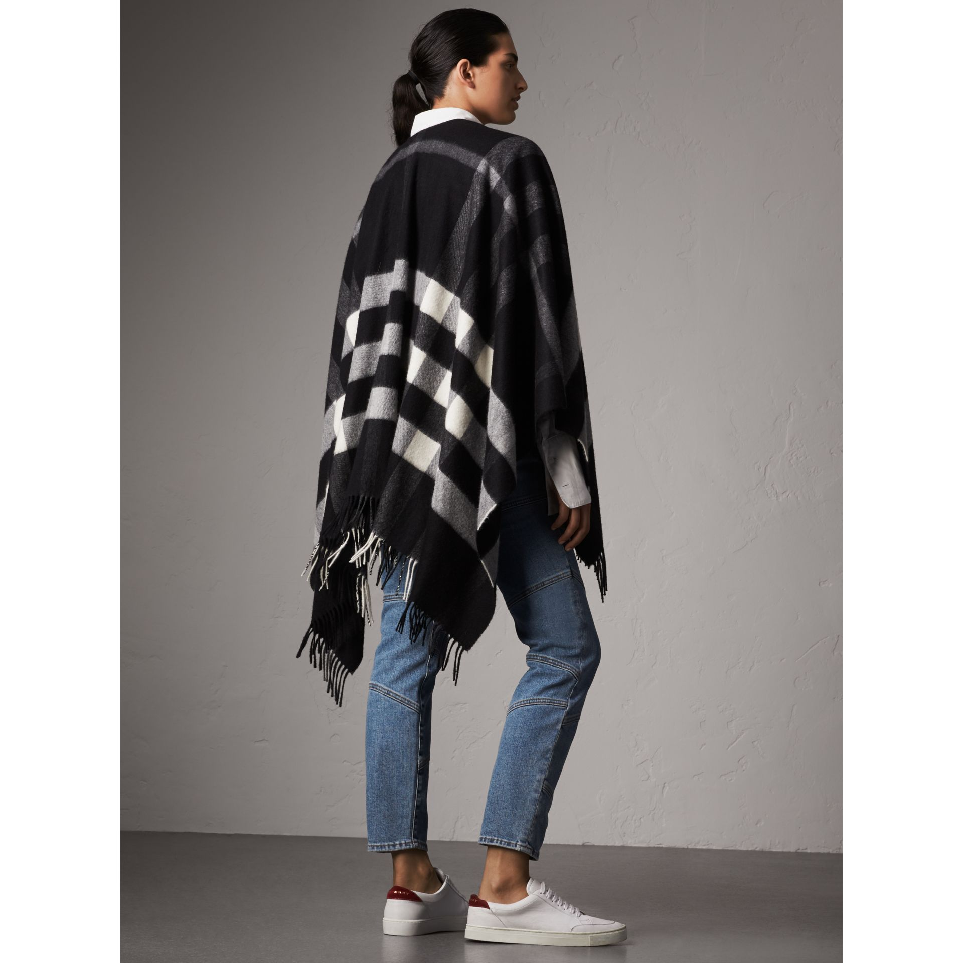 Check Cashmere and Wool Poncho in Black - Women | Burberry Australia - gallery image 3