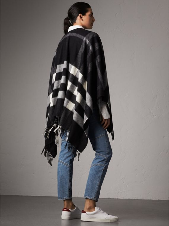 Check Cashmere and Wool Poncho in Black - Women | Burberry - cell image 2