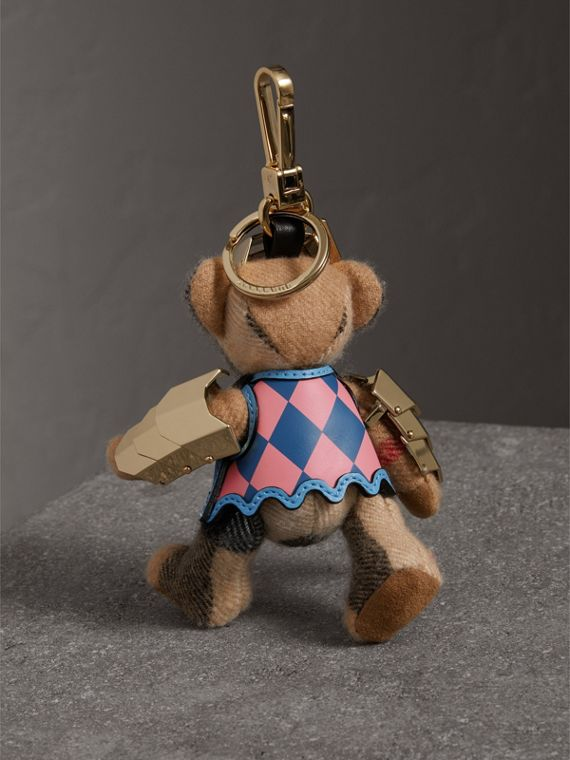Thomas Bear Charm with Knight Armour Detail in Camel Check | Burberry Canada - cell image 3