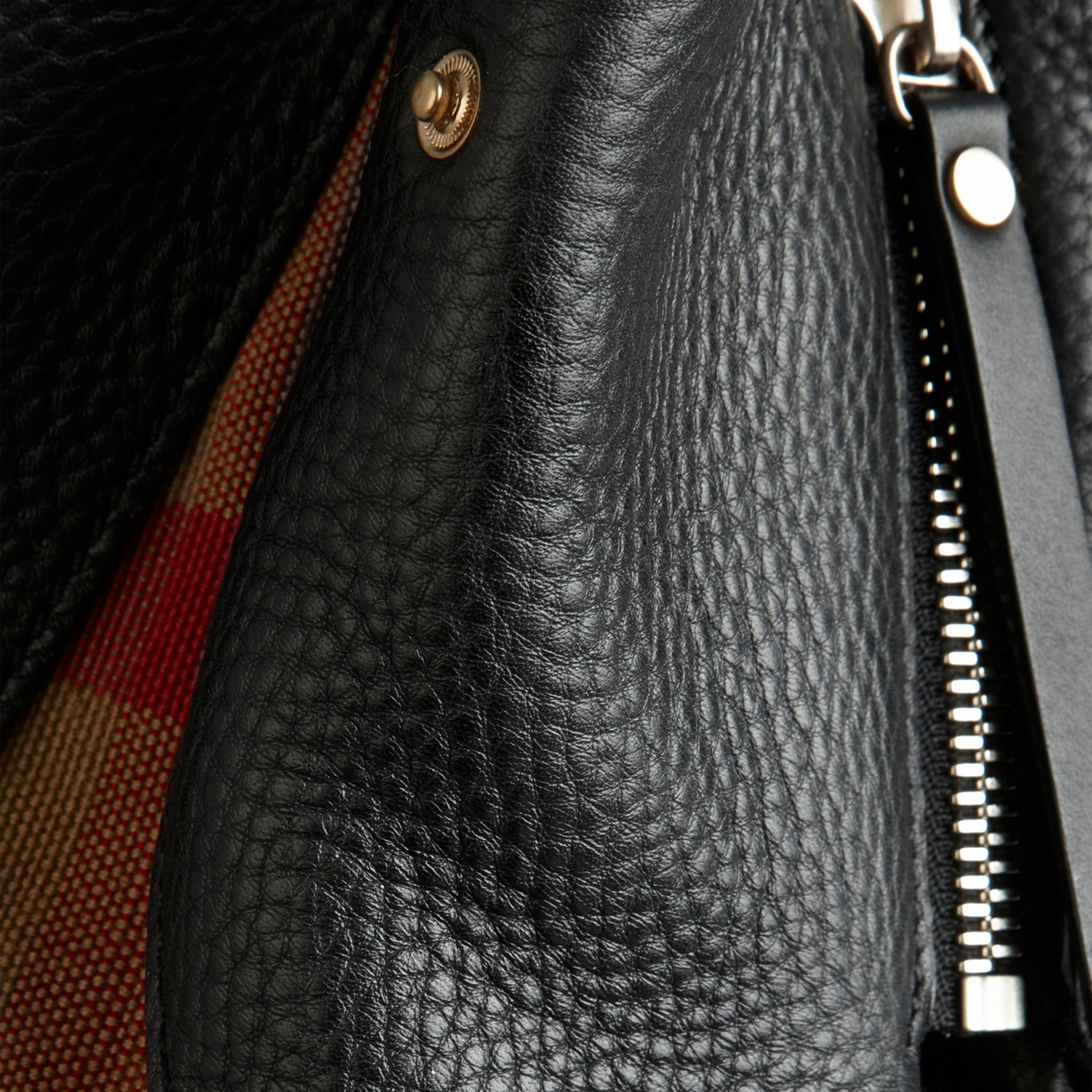 Black Medium Check Detail Leather Tote Bag Black - gallery image 5