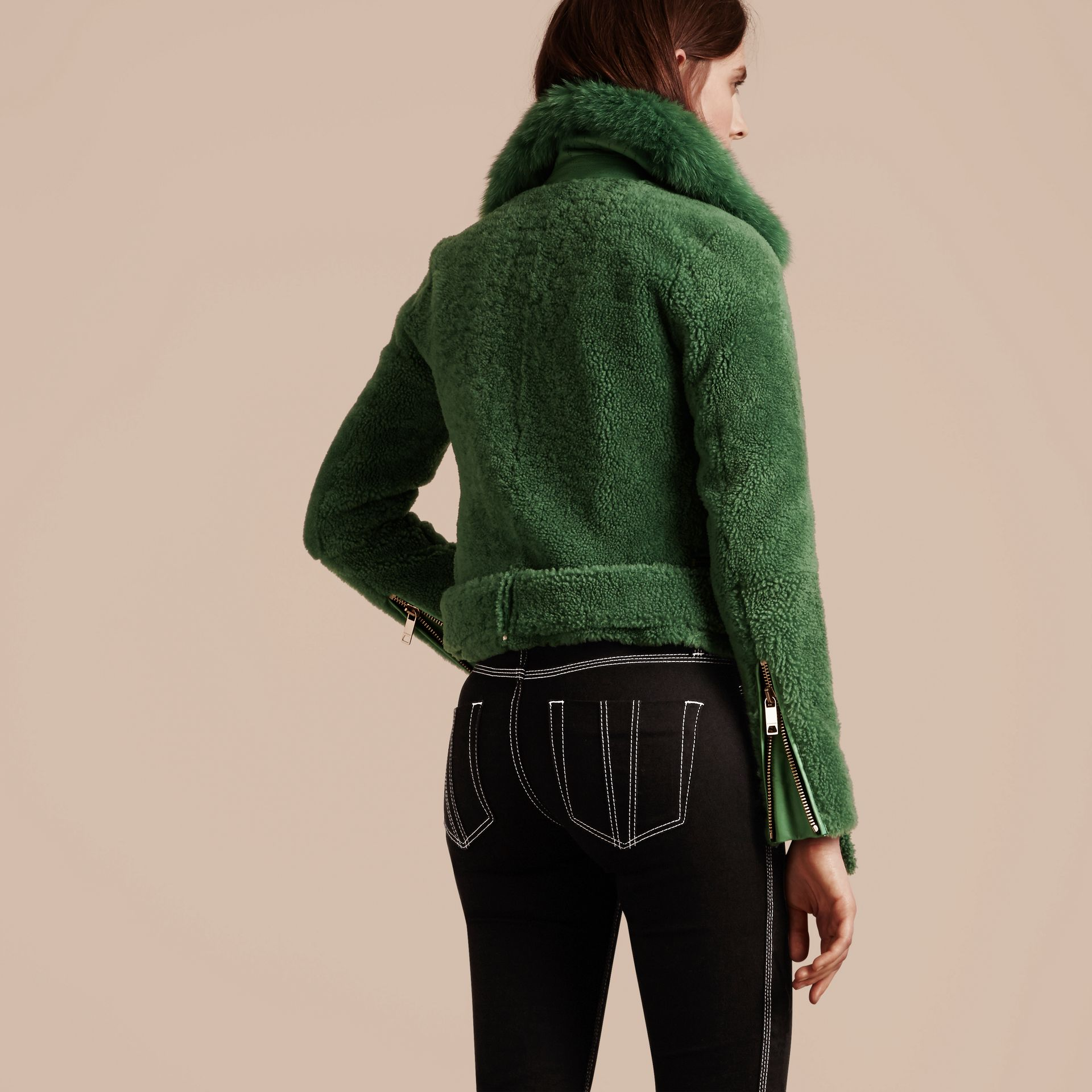 Pigment green Shearling Biker Jacket with Fur Collar Pigment Green - gallery image 3