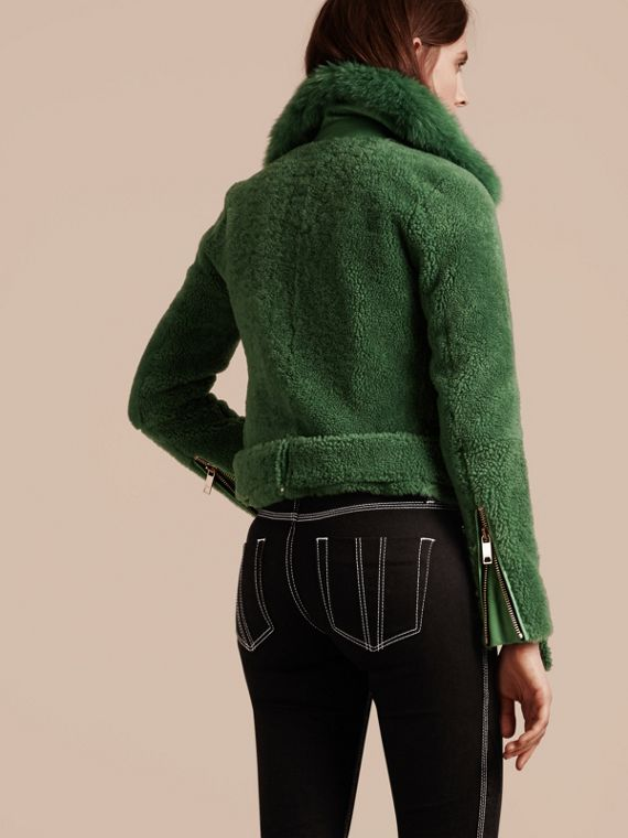 Pigment green Shearling Biker Jacket with Fur Collar Pigment Green - cell image 2