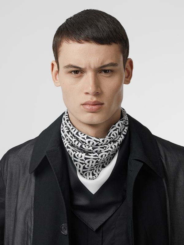 Monogram Print Silk Square Scarf in Monochrome - Women | Burberry - cell image 3