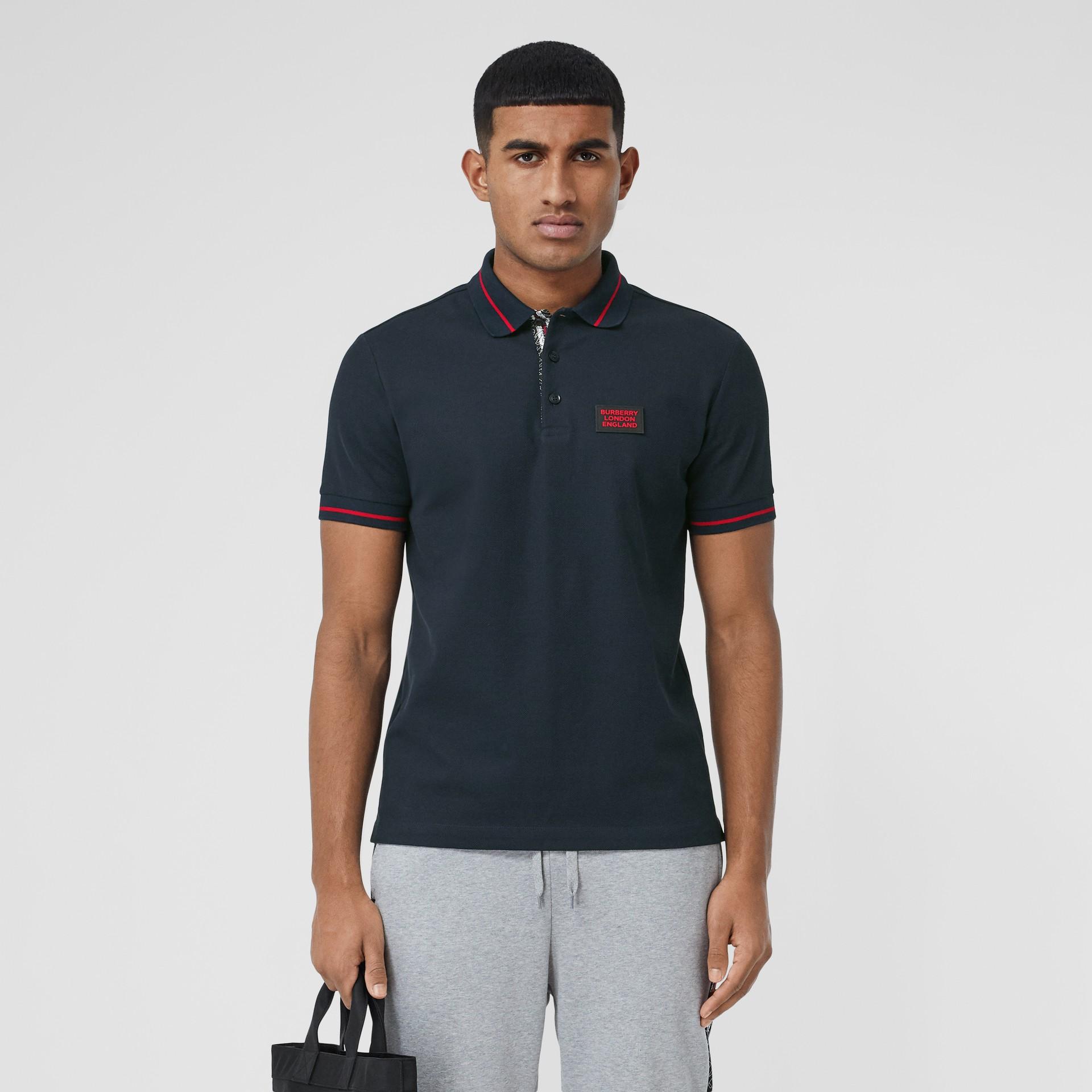 Logo Appliqué Cotton Piqué Polo Shirt in Navy - Men | Burberry Hong Kong S.A.R - gallery image 0