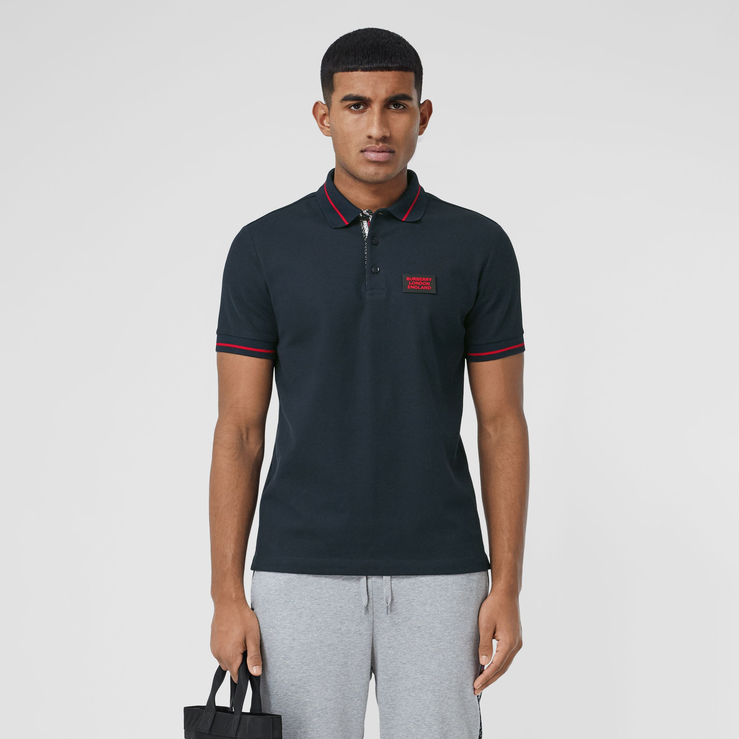 Logo Appliqué Cotton Piqué Polo Shirt in Navy - Men | Burberry - 1