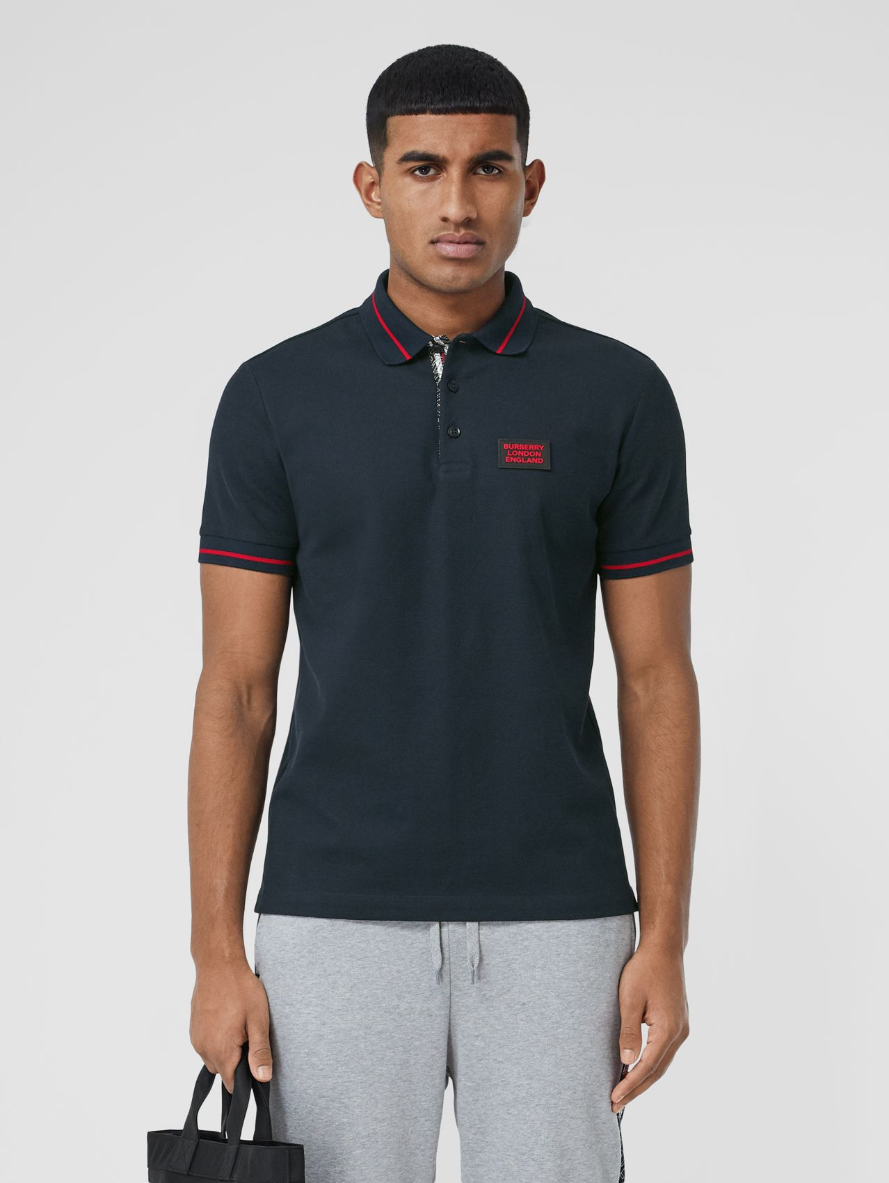 Logo Appliqué Cotton Piqué Polo Shirt (Navy)