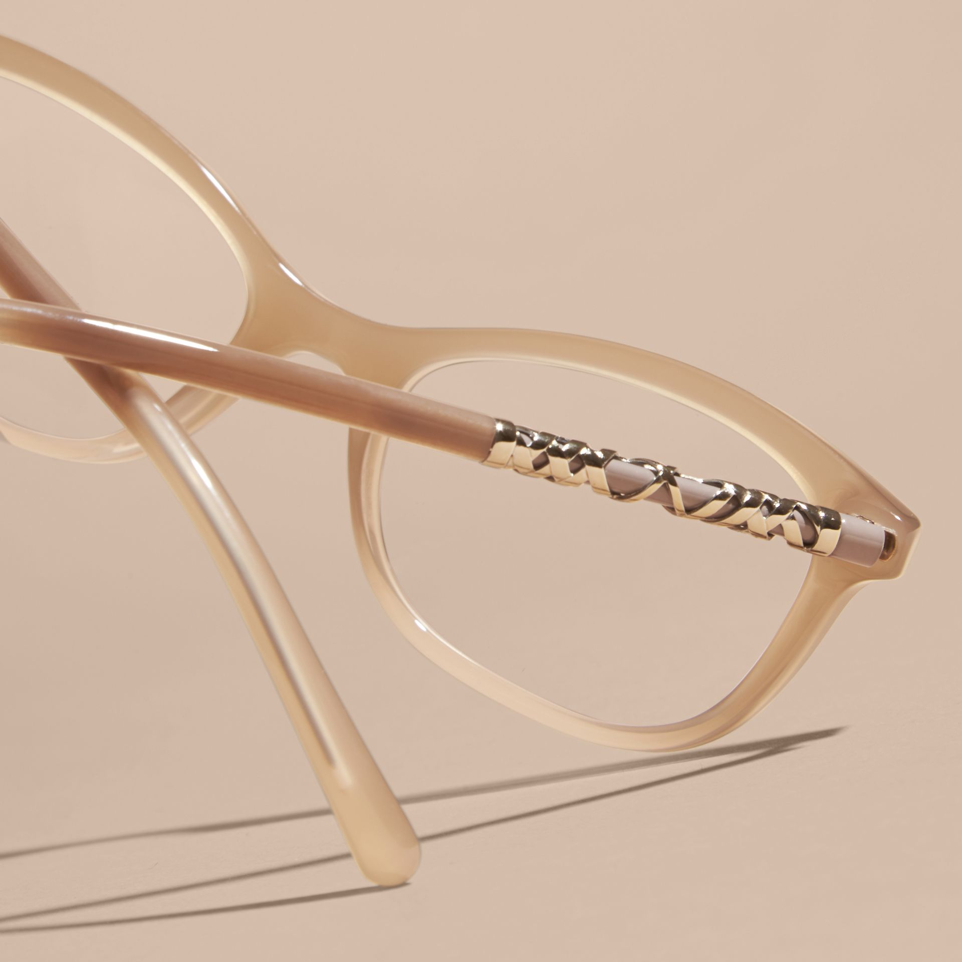 Chino grey Check Detail Oval Optical Frames Chino Grey - gallery image 4