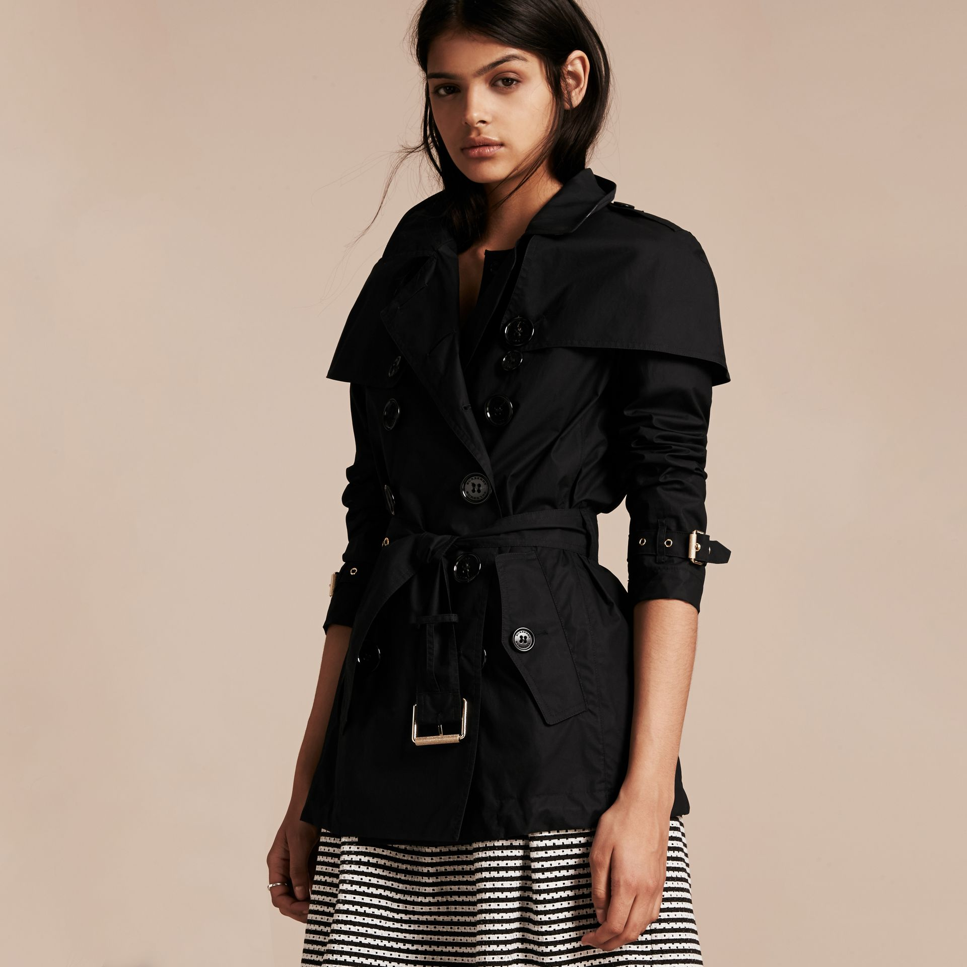 Black Lightweight Cape Detail Cotton Trench Coat Black - gallery image 6