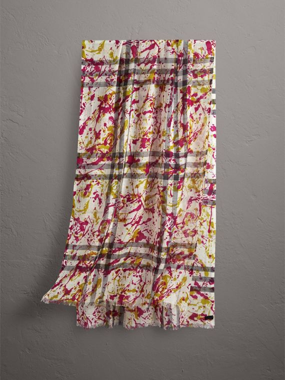 Splash Print and Check Lightweight Wool Silk Scarf in Stone/yellow