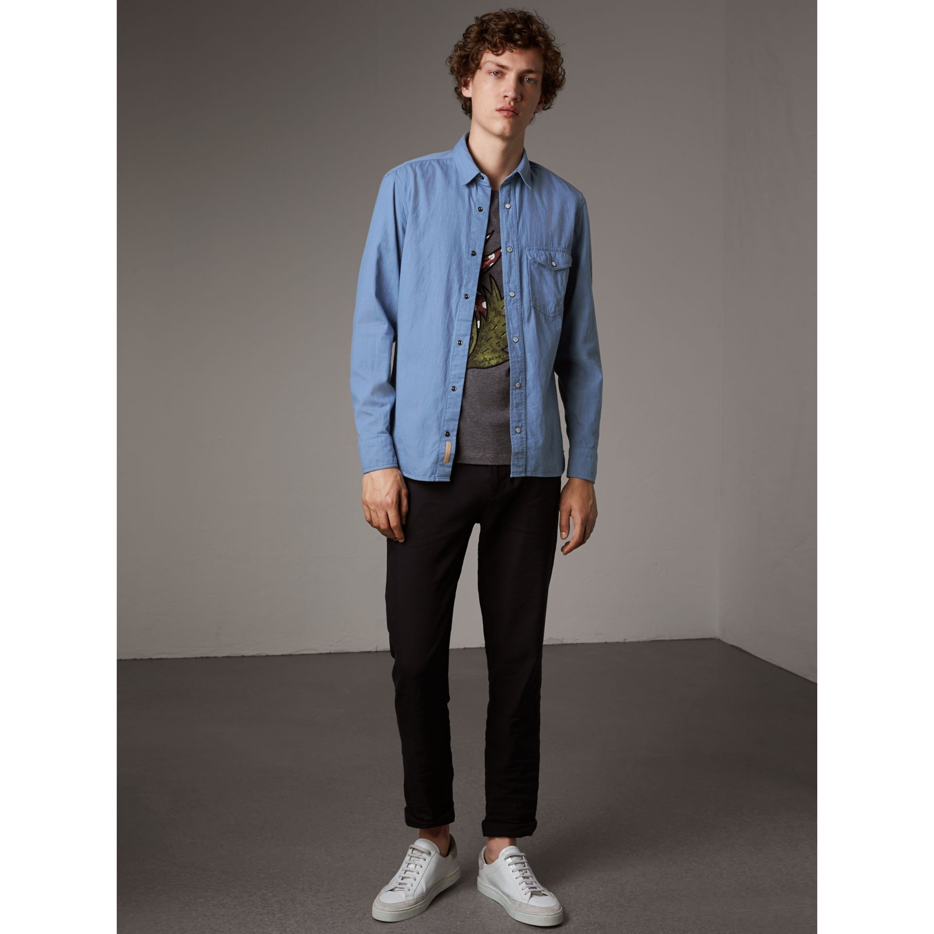 Japanese Denim Shirt in Light Blue - Men | Burberry - gallery image 1